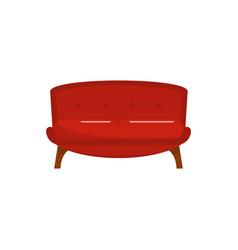 Red tuxedo sofa icon flat style vector