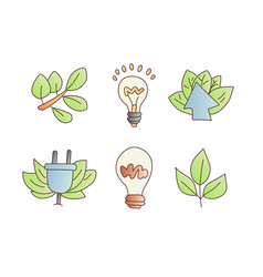 save enegry cartoon icons green leaves vector image