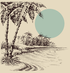 Sea view from palm beach hand drawing vector