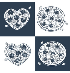 seamless monochrome pizza pattern vector image