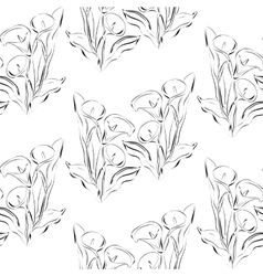 Seamless pattern black and white callas flowers vector