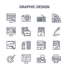 set 16 graphic design concept line icons 64x64 vector image