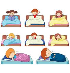 set of doodle kids in bed vector image