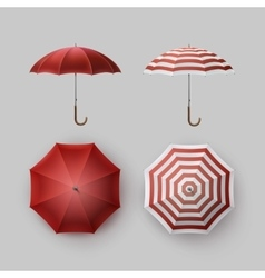 Set of White Red Striped Rain Umbrella Sunshade vector