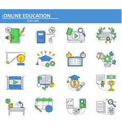 Set online education icons in thin line vector
