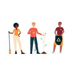 set volunteers people saving environment vector image