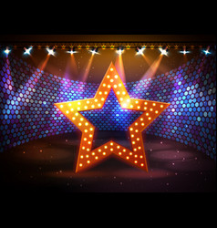 Silhouette of disco star sign on disco stage vector