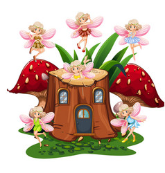 six fairies flying around log home in garden vector image
