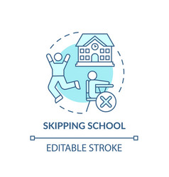Skipping school turquoise concept icon vector