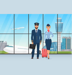 smiling airport personal pilot and stewardess vector image