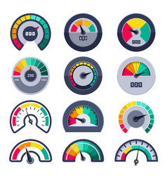 Speedometers symbols indicate level score meter vector