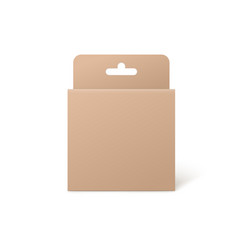 Square cardboard pack box with hang tab vector