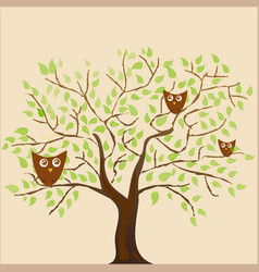 Stylized plants and many owls festive coff vector