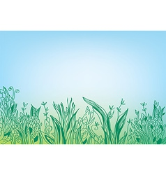 Summer grass border banner - hand drawn vector image