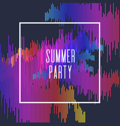 Summer party poster colored stripes on dark vector