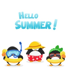 Summer penguins vector