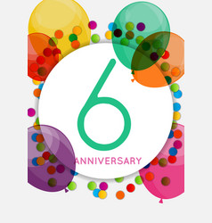Template 6 years anniversary congratulations vector