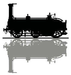 The black silhouette of a historical locomotive vector