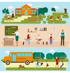 Three templates with school scene vector image vector image