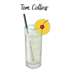 Tom collins cocktail with orange straw and vector