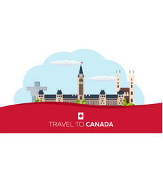 Travel to canada america flat vector