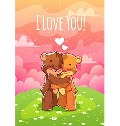 Two enamored bear hugging on the lawn vector