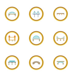 Types of bridges icons set cartoon style vector