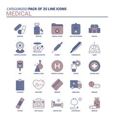 vintage medical icon set - 25 flat line icon set vector image