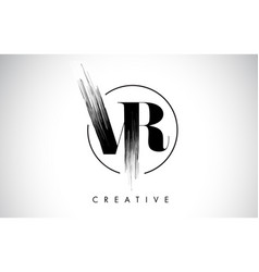 Vr brush stroke letter logo design black paint vector