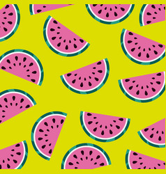 watermelon fruit juicy fresh seamless pattern vector image