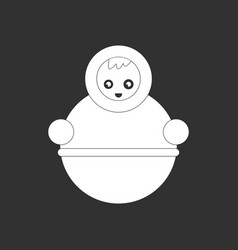 White icon on black background russian doll vector