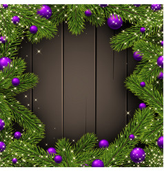 wooden christmas background with spruce branches vector image