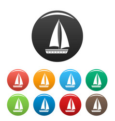 yacht travel icons set color vector image