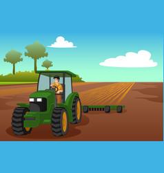 Young farmer riding a tractor vector