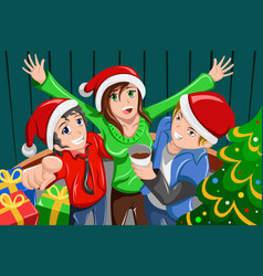 Young people having a christmas party vector