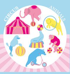 Circus clip art set vintage vector