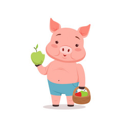 cute pig holding basket with apples funny cartoon vector image vector image