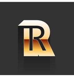 Gold Letter R Shape Logo Element vector image