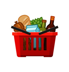 grocery shopping basket store food and drinks vector image
