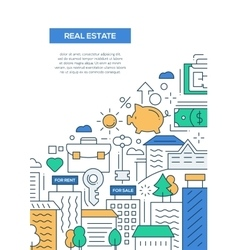 Real Estate - line design brochure poster template vector image