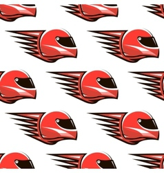 Seamless pattern of red racing helmet with speed vector image vector image