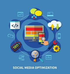 social media round composition vector image