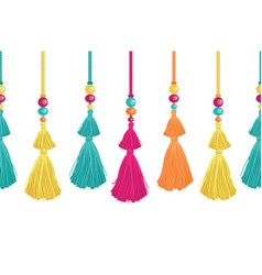Vibrant decorative tassels beads and vector