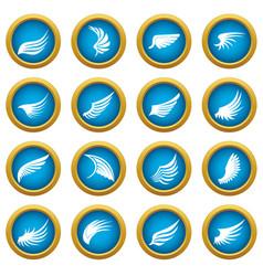 wing icons blue circle set vector image