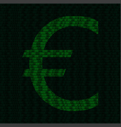silhouette of euro symbol from binary digits vector image vector image