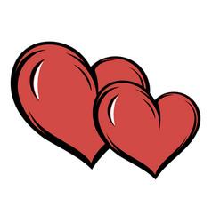two hearts icon cartoon vector image vector image
