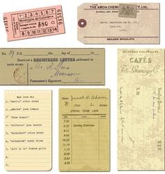 Vintage paper ticket elements vector