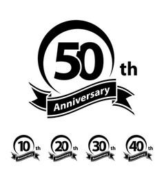 Anniversary ribbon number 10 20 30 40 50 vector