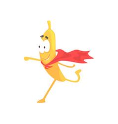 banana superhero cartoon funny fruit character vector image vector image