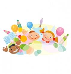 cartoon ethnic kids vector image
